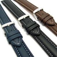 CONDOR Padded Calf Leather Watch Strap White Stitching 18mm 20mm 22mm 336R