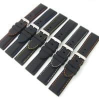 Flexible Silicone Watch Strap Black Coloured Contrast Stitching 18mm - 28mm C039