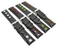 Grand Prix Style Padded Leather Watch Strap Coloured Holes 20mm-24mm C006
