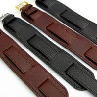 Heavy Leather Military Watch Strap Band Cuff Style 18mm  D024