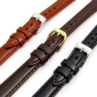Ladies Polished Padded Nappa Leather Watch Strap 10mm 12mm 14mm 3 Colours C018