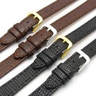 Ladies Real Leather Watch Band Lizard Grain Black or Brown 12mm 14mm