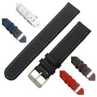 Leather watch strap Contrast Stitched  16mm 18mm 20mm C001