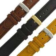 Leather Watch Strap Padded Lizard Grain 3 Colours 16mm 18mm 20mm C016