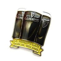 Official Guinness Enamel Lapel Pin Badge - 3 Pints Design 5060