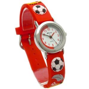 Ravel Kids Childs Football Design Watch 3D Silicone Strap Football Red 1513.32r