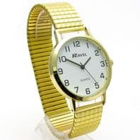 Ravel Men's Super-Clear Quartz Watch with Expanding Bracelet Gold #25 R0201.02.1