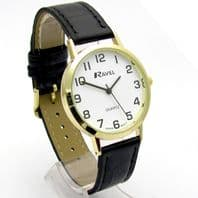 Ravel Mens Super-Clear Easy Read Quartz Watch Black Strap White Face R0102.01.1A