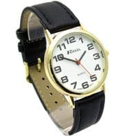 Ravel Mens Super-Clear Easy Read Quartz Watch Black Strap White Face R0105.05.1