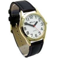 Ravel Mens Super-Clear Easy Read Quartz Watch Black Strap White Face R0125.02.1
