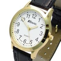 Ravel Mens Super-Clear Easy Read Quartz Watch Black Strap White Face R0130.01.1