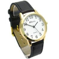 Ravel Mens Super-Clear Easy Read Quartz Watch Black Strap White Face R0132.02.1
