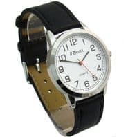 Ravel Mens Super-Clear Easy Read Quartz Watch Black Strap White Face R0132.11.1
