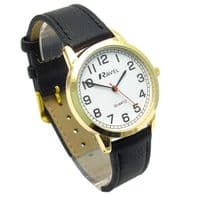 Ravel Mens Super-Clear Easy Read Quartz Watch Black Strap White Face R0132.12.1