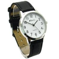 Ravel Mens Super-Clear Easy Read Quartz Watch Black Strap White Face R0132.21.1