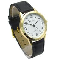 Ravel Mens Super-Clear Easy Read Quartz Watch Black Strap White Face R0132.22.1