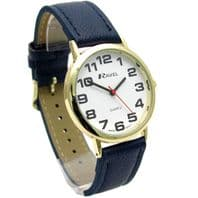 Ravel Mens Super-Clear Easy Read Quartz Watch Blue Strap White Face R0105.26.1A