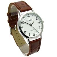 Ravel Mens Super-Clear Easy Read Quartz Watch Brown Strap White Face R0102.12.1A