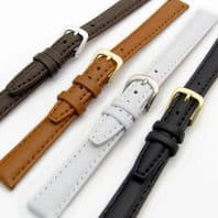 Smooth Padded Replacement Leather Watch Strap 12mm or 14mm 4 Colours C009
