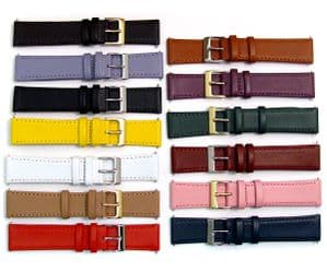 Smooth Stitched Leather Watch Strap Lots of Colours  16mm - 22mm C088