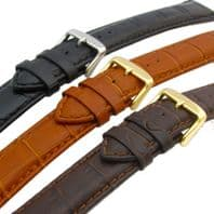Super-Long XXL Padded Croc Grain Leather Watch Strap 18mm 20mm 22mm 24mm C025