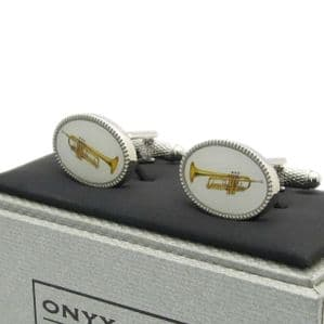 Trumpet Cufflinks by Onyx-Art New Gift Boxed CK1083