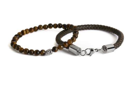 Simon Carter Connor Tigerseye and Leather Bracelet Set