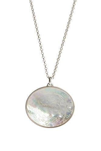 Simon Carter Oval Engraved Mother of Pearl Pendant