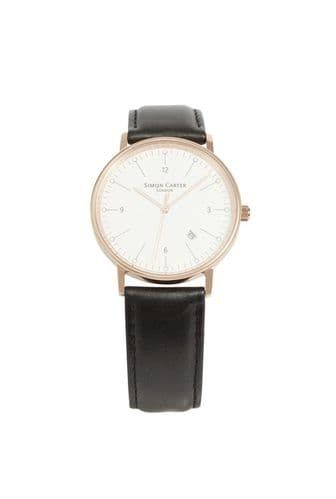 Simon Carter Rose Gold Finished Bevelled Window Watch