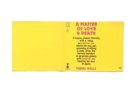 A Matter of Love and Death by Tobias Wells Dust Jacket Only First Edition Victor Gollancz 1966
