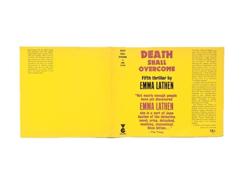 Death Shall Overcome by Emma Lathen Dust Jacket Only First Edition Victor Gollancz 1967