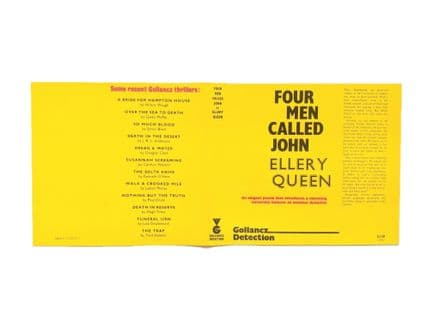Four Men Called John by Ellery Queen Dust Jacket Only First Edition Prototype Victor Gollancz 1976.