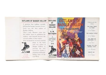 Outlaws of Badger Hollow by G.W. Barrington Dust Jacket Only First Edition Hutchinson 1935