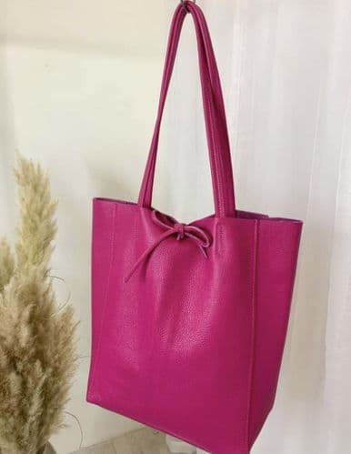 BUTTERSOFT LEATHER TOTE HOT PINK