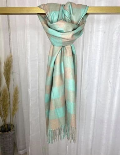 CASHMERE CHECK SCARF MINT AND BEIGE