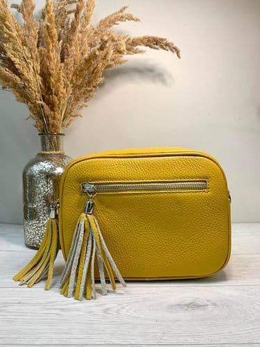 REAL LEATHER DISCO BAG MUSTARD