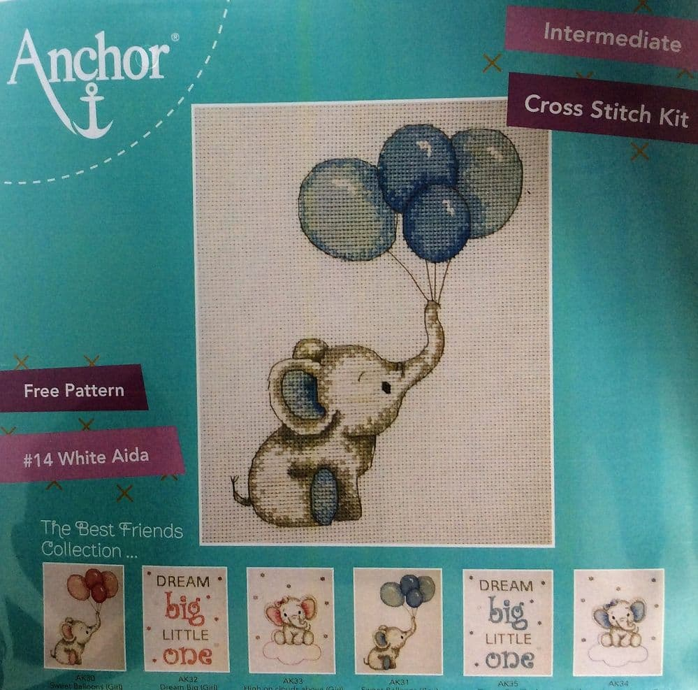 Anchor Cross Stitch Kit - Sweet Balloons (Blue or Pink)