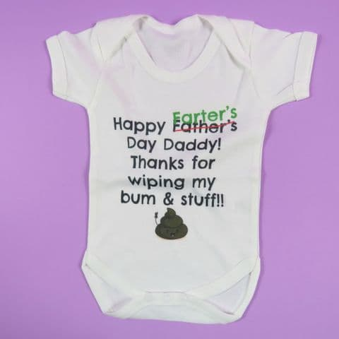 Worlds best farter mean father thanks for wiping bum Dad baby vest Dad Birthday Gift for Dad  first