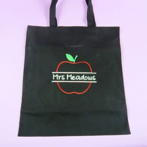 Black Embroidered Apple Teacher tote bag Personalised bag Thank you gift End of Term Teacher Gift