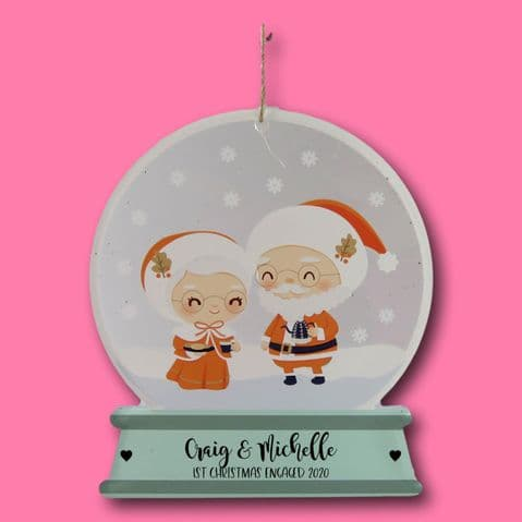 1st Christmas engaged Santa Claus Snow globe Decoration Printed acrylic Bauble Mr & Mrs claus