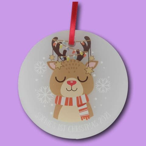 1st reindeer christmas Decoration | newborn Printed acrylic Bauble | baby christmas | personalised