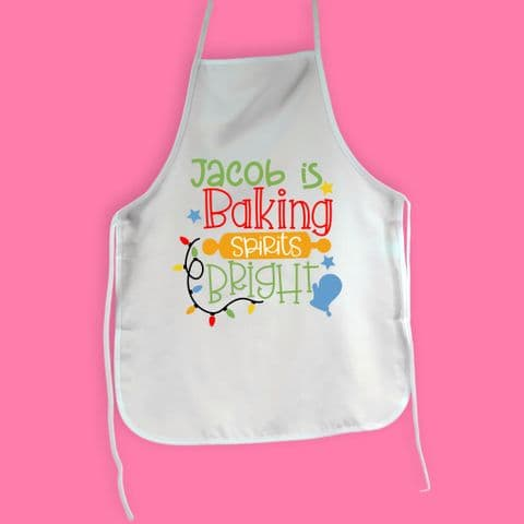 Baking Spirits Bright Apron | Personalised Christmas Apron Child Apron | Cooking Gift | Kitchen Mini