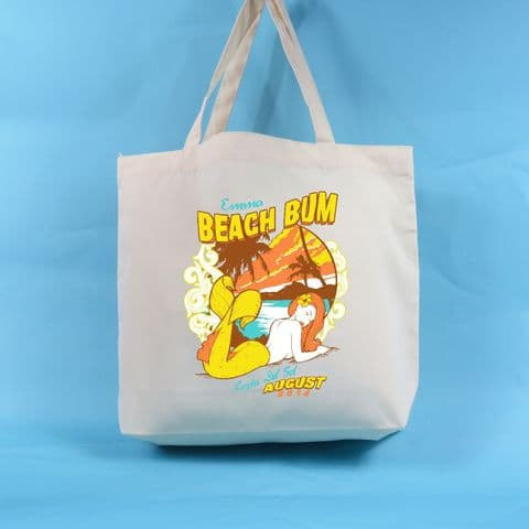 Beach Bum Tote Bag - Neutral Colour - Can be Fully Customised - All the text can be changed