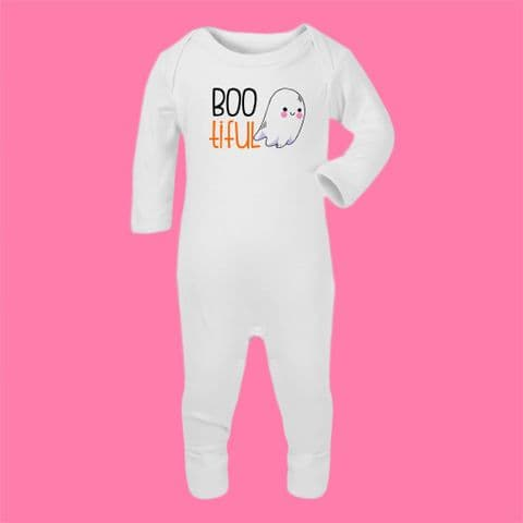Bootiful Baby Vest Ghost Romper suit Beautiful Baby Halloween Costume Funny Halloween Outfit