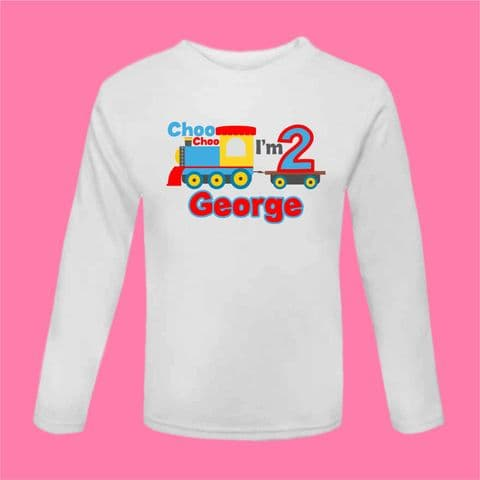 Choo Choo I'm 2 Birthday Train T Shirt Birthday Outfit Second Birthday T Shirt Long Sleeved Cake