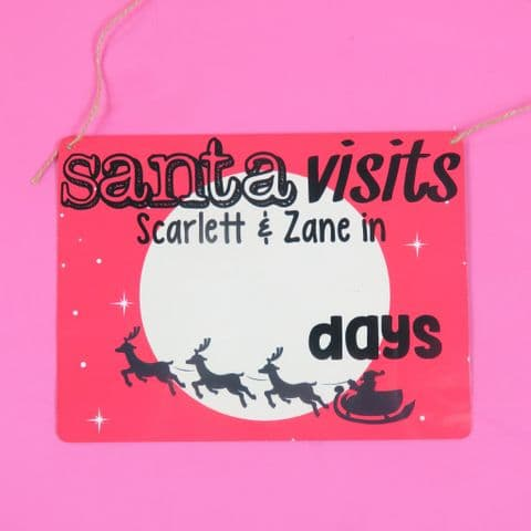 Christmas Count Down Plaque Personalised Santa Stop Here Plaque Father Christmas Xmas Red Fun First