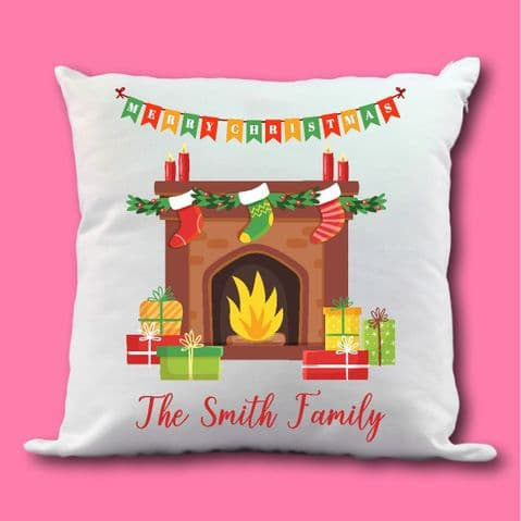Christmas fireplace cushion | First Family Xmas | 1st Christmas scene | family warm scene