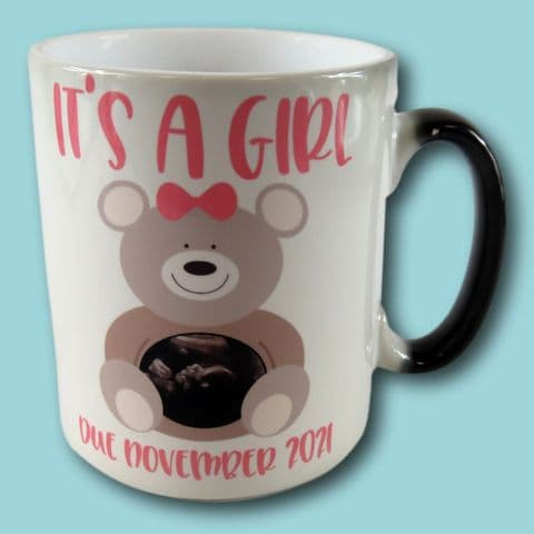 Colour Changing Gender Reveal Mug   It's a Girl Mug Gift   Scan Photo Gift   Gender Reveal Gift