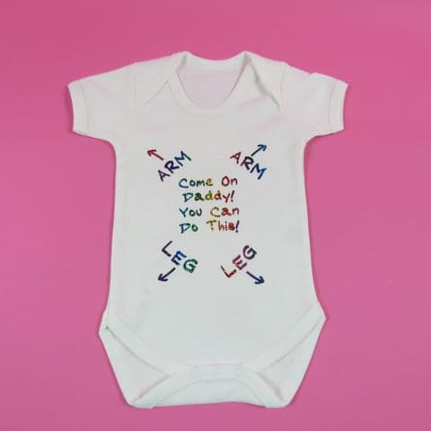 Come on daddy you can do this - new dad - baby grow vest onsie - Rainbow Sparkle
