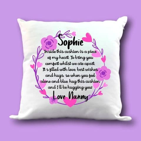 Comforting Cushion | Miss You Gift | Personalised Cushion | Memory Cushion | Long Distance Cushion